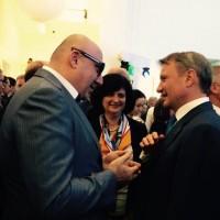Т.Ю. Хихинашвили общается с президентом Сбербанка Германом Грефом в кулуарах Санкт-Петербургского экономического форума